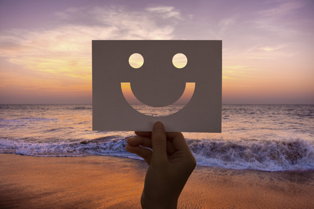Happines cheerful perforated paper smiley face