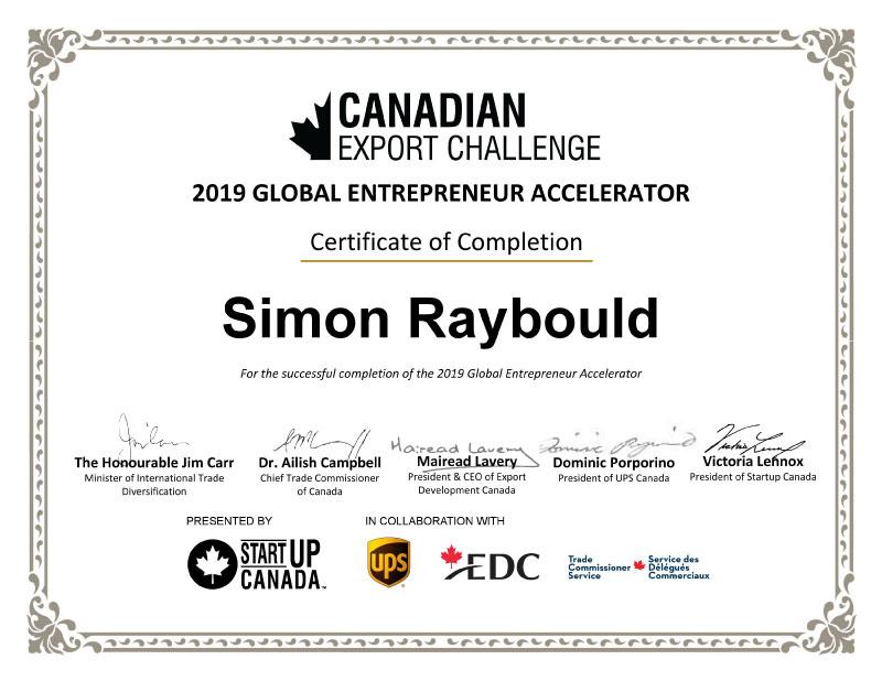 MentorEase_Simon_Raybould_StartupCanada_Certificate